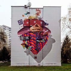 New mural by Lonac and Artez in Banja Luka, Bosnia. Found via @streetartnews.