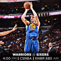 IT'S GAME DAY! The #Warriors open a four-game roadie today in Philadelphia against the undefeated Sixers. Tipoff is set for 4pm & the game is available on CSNAuthentic or KNBR 680 AM. Game preview @ warriors.com/gameday. #LetsGoWarriors