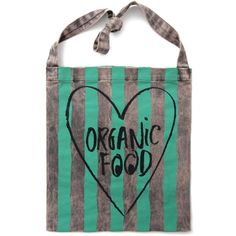 We heart organic food. A shopping tote for the local grocery, farmers market, the beach or simply everyday. Green and grey stripes. 100% cotton.