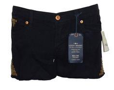 NEW Lucky Brand Womens Shorts MALIBU Denim Tomboy Studded Distressed Black Sz 26…
