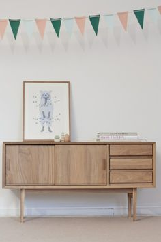 interior, living room, bunting, simple, home, sideboard