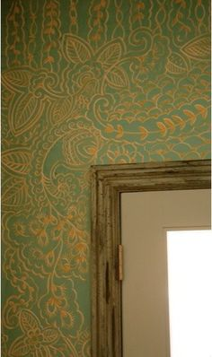 Wall with painted henna pattern over Venetian plaster - Kaveri Singh Artworks