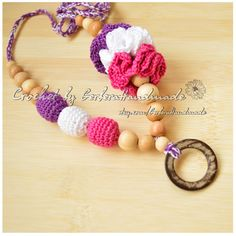 Teething necklace / Nursing necklace / Breastfeeding Necklace / Crochet Necklace for mom purple hot pink white