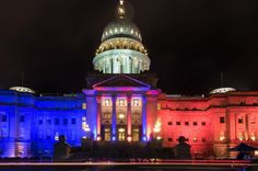 Homecoming pride on display: Blue and Orange lights on the Capitol building! Boise State University, Boise State Broncos, Go Broncos, Capitol Building, Alma Mater, Light Orange, Homecoming, Taj Mahal, Pride