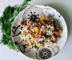 Riisipohjainen kalasalaatti (maidoton, gluteeniton)