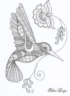 Happy hummingbird zentangle van Sabine Design op DaWanda.com