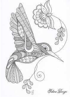 Happy hummingbird zentangle van Sabine Design op DaWanda.com