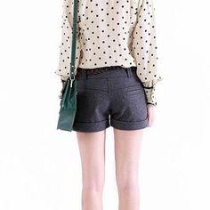 Mid Waist Plain Woolen Winter Shorts