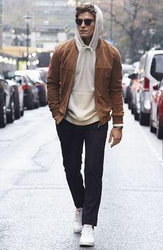 Brown suede jacket gray hoodie black denim with white sneakers in this streetstyle combo Best Sneakers, Sneakers Fashion, White Sneakers, Running Sneakers, Running Shoes, Sneakers Style, Sneakers Design, Shoes Sneakers, Gentleman