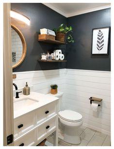 Upstairs Bathrooms, Downstairs Bathroom, Bathroom Renos, Laundry In Bathroom, Teen Bathroom Decor, Shiplap Bathroom Wall, Bathroom Wall Colors, Bathroom No Window, Bathroom Wall Ideas