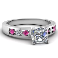 Princess Cut Diamond Engagement Rings With Pink Sapphire In 950 Platinum   Inline Kite Ring   Fascinating Diamonds