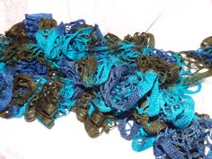 Pretty Shades of Turquoise and Brown Ruffle Scarf $18.00 thecraftstar, blue scarf, ruffle scarf, online shopping, holiday gift idea