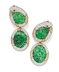Lot 193 - Pair of 18 Karat Gold, Platinum, Jadeite, Diamond and Ruby Pendant-Earclips, David Webb