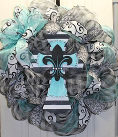 Everday Cross Mesh Wreath  Easter by southernchicbyle on Etsy, $67.00