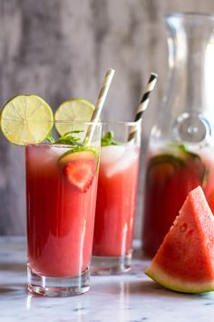 Sugar-Free Watermelon Strawberry Agua Fresca - Super simple, five-ingredients.