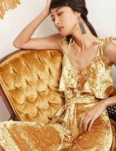 Explore high fashion dresses at Pixie Market. Get short and long-sleeve styes in casual, midi, maxi, and mini designs from the Pixie Market dress collection. High Fashion Dresses, Fall Fashion Outfits, Womens Fashion, Gold Velvet Dress, Pixie, New Years Outfit, Calf Length Dress, Tie Dress, Beret
