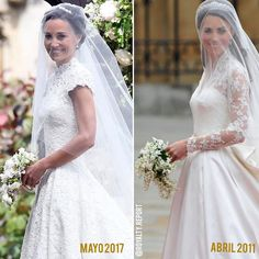 Pippa's wedding compared to Kate's. Estilo Kate Middleton, Kate Middleton Style, Pippa Middleton, Pippas Wedding, Wedding Bells, Wedding Gowns, Pippa And James, Kate And Pippa, Royal Brides