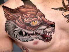 Neotraditional wolf head by Jon at Crucial Tattoo; Salisbury, MD.