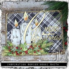 I'm back today sharing another project that I created for the Tim Holtz Holiday Inspiration Series. This Candlelight Merry Christmas Card was created using new and rereleased Tim Holt Christmas Cards 2017, Merry Christmas Card, Vintage Christmas Cards, Xmas Cards, Holiday Cards, Atc Cards, Christmas Candles, Christmas 2015, Winter Karten