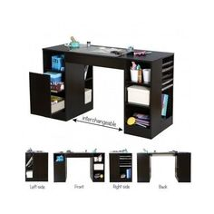 Sewing Table S Booking Desk Storage Organizer Craft Room Furniture Black