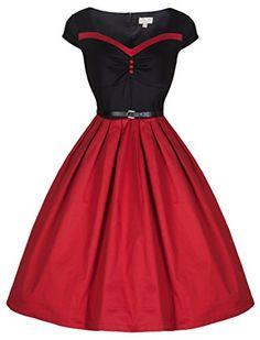 Lindy Bop 'Rita' Vintage 50's Sweetheart Ravishing Rockabilly Party Dress (M, Red Black) Lindy Bop http://smile.amazon.com/dp/B00OZUR77A/ref=cm_sw_r_pi_dp_HmeUub0WJ1QC4