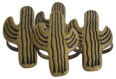 One Kings Lane Vintage Cactus Napkin Rings - Set of 4 - Fig + Stone Designs Flamingo Party, Cactus Cactus, Cacti, Makers Mark, My Beauty, Sloth, Napkin Rings, Napkins, Deserts