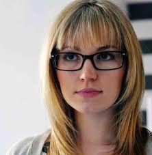 Image result for long hair bangs glasses