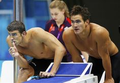 Michael Phelps & Nathan Adrian Watching 4x100M Freelay