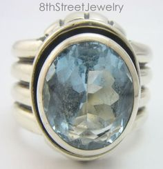 Retired-Silpada-R0902-Sterling-Silver-925-Blue-Topaz-Wide-Ring-Size-8-2006-07