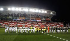 CHESTER, PA - JULY 25:  Chelsea and the MLS All-Stars look on during the National Anthem before the 2012 AT MLS All-Star Game at PPL Park on July 25, 2012 in Chester, Pennsylvania.