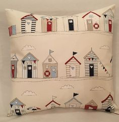 Fryetts Beach Huts Nautical Sailing Maritime Seaside Boats blue cushion cover ideal for boys bedroom, nursery interior