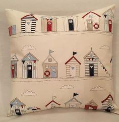 Fryetts Beach Huts Nautical Sailing Maritime Seaside Boats blue cushion cover ideal for boys bedroom, nursery interior