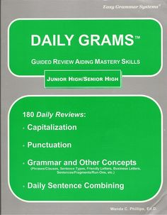 Grammar - I love this program too. One page a day covers all the parts of speech. Honestly, I never even used the other part of the program Easy Grammar. Easy Grammar, Grammar Review, Teaching Grammar, Grammar Skills, Apologia Physical Science, Homeschool Diploma, Sentence Fragments, English Units