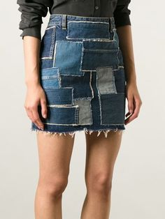 Saint Laurent Patchwork Denim Skirt - Luisa World - Farfetch.com