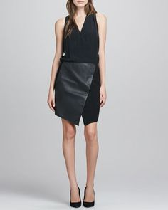 V-Neck+Silk+&+Leather+Combo+Dress++by+Tibi+at+Neiman+Marcus.