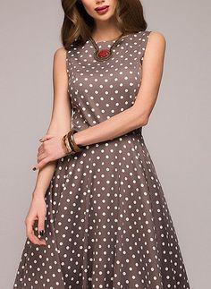 12172d147470 XXL - Shoulder Width(cm) - Bust(cm) - Waist(cm) - Length(cm) - Type  Slim -  Material  Dacron - Color  Brown - Decoration  Draped - Pattern  Polka Dot  ...