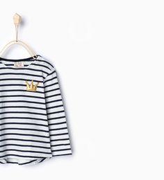 Imagem 1 de T-shirt algodão orgânico riscas da Zara
