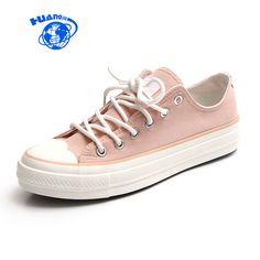 f7030a02d R$ 82.2 22% de desconto|Aliexpress.com: Compre Mulheres primavera Sapatos  de Lona Senhora Menina Rosa Sapatos Lace Up Calçados Vulcanizados Calcanhar  Plana ...