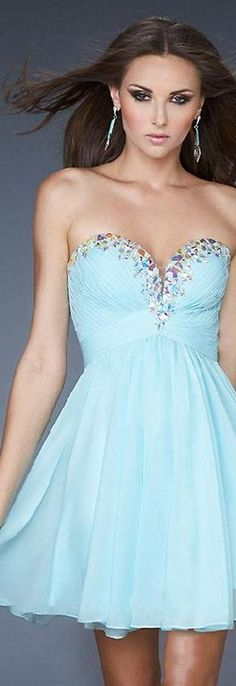 Fashion Short Sleeveless Natural Chiffon Baby doll Prom Dresses dadadresses12739vthw #shortdress #promdress