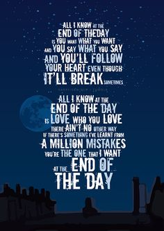 Made In the A.M. Lyric Posters → End of the Day