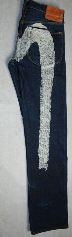 83672b810bee EVISU JAPANESE SELVEDGE JEANS BLUE INDIGO DAICOCK STRAIGHT LOOSE W 32 L 32  33