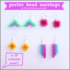 Perler Bead Earrings: A 10 Minute Craft that is fun for all ages...from thinkingcloset.com