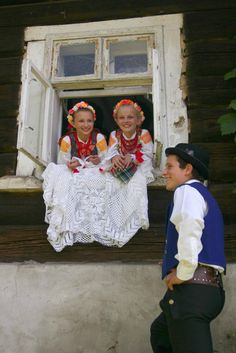 Hello All, Today I will talk about the costume culture of the village of Wymysorys, which the Polish call Wilamowice. This village . Folk Costume, Costumes, Polish People, Green Apron, Two Braids, Types Of Skirts, Married Woman, White Embroidery, My Heritage