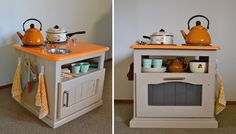 DIY Christmas Gift Idea ~ small side table made into a darling little Play Kitchen