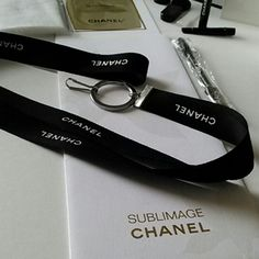 """Authentic Ribbon Lanyard Authentic CHANEL Ribbon Lanyard  HANDMADE TO ORDER! """"ONLY THE LANYARD IS AVAILABLE!""""  Silver Hardware, 30"""" long Accessories"""