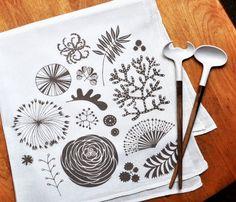 botanical flour sack tea towel