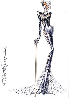 Lady Gaga - Versace Sketch for 54th Grammy Awards