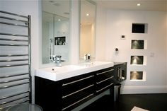 Vanity: DecoTec double sink vanity with 2 bath mirrors, Bathroom Faucet: Riobel single hole faucet, chrome, Towel warmer: ICO towel warmer, chrome, Porcelain wall tiles: Porcelanosa Cubica bianco ceramic wall tiles, Project 3 - Bathroom / Private Residence, ON, Canada