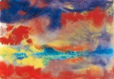 Emil Nolde, Evening Landscape, watercolor