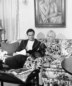 "brando-monroe-dean: "" Marlon Brando and his grandmother photographed by Ed Clark,1949. """
